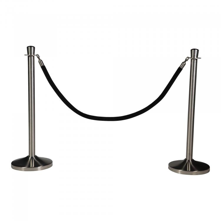Barrier Posts - Elegance - Brushed Stainless Steel - Black Rope