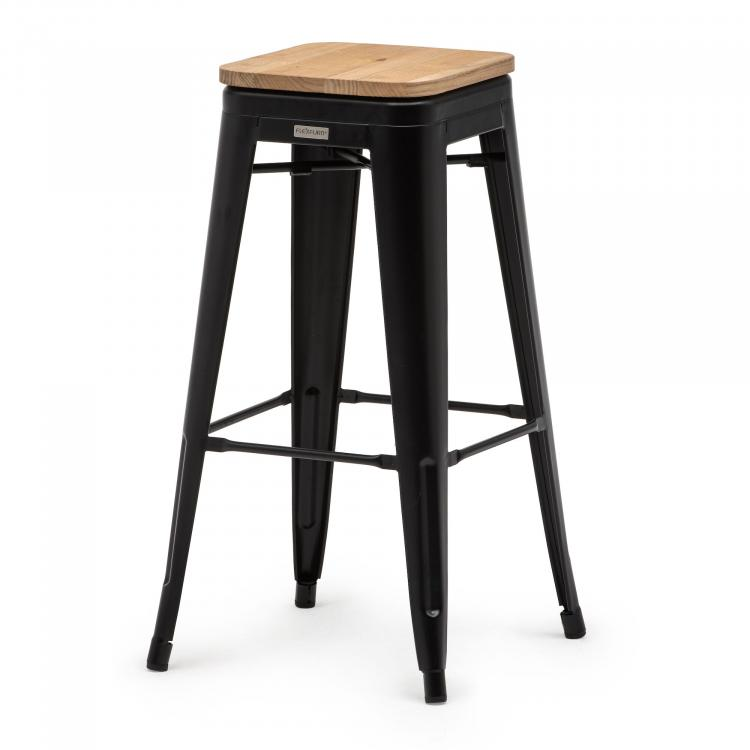 Tolix Style barstool with wooden seat
