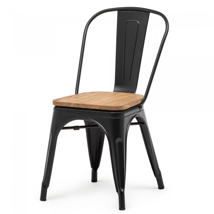Tolix Style Chair with wooden seat