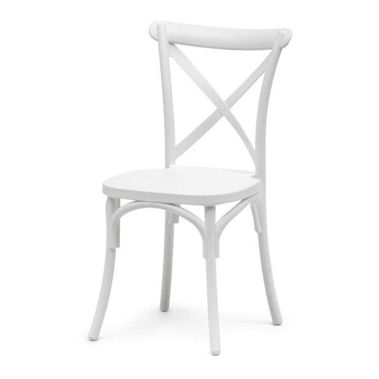Stack Chair - Crossback - White Polypropylene