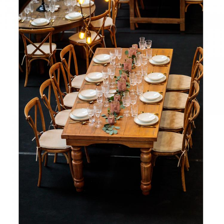 Stack Chair - Crossback & Farm Table - Setting