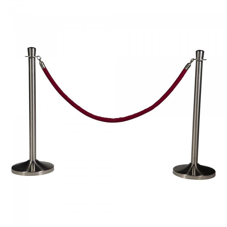 Barrier Posts - Elegance - Brushed Stainless Steel - Red Rope -  Red